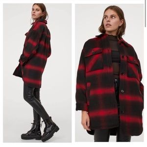 NWOT/NIP H&M Divided red plaid shirt jacket